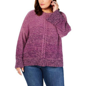 Style & Co Plus Size Braided-Trim Marled Sweater